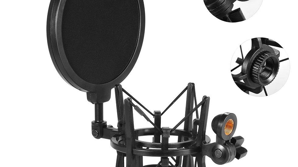 Condenser Microphone Mic Shock Mount W/ Pop Filter for  Studio Music Recording
