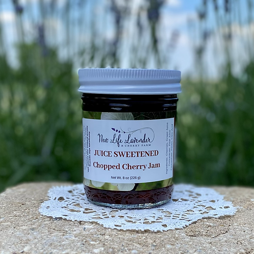 Juice sweetened chopped Cherry Jam (8 oz)