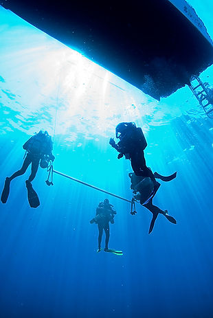 tec divers on a boat dive