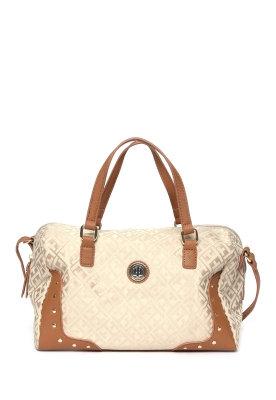 Bolsa satchel beige  con asa hombro