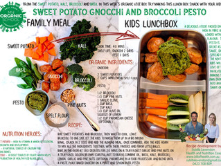 Sweet potato gnocchi and broccoli pesto family meal to school lunch box recipe.