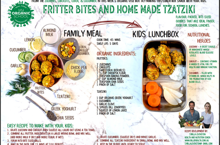 Fritter Bites and Home Made Tzatziki
