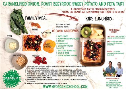 Caramelised onion, roast beetroot, sweet potato and feta tart