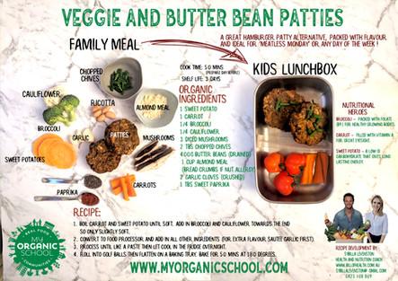 Veggie and butter bean patties