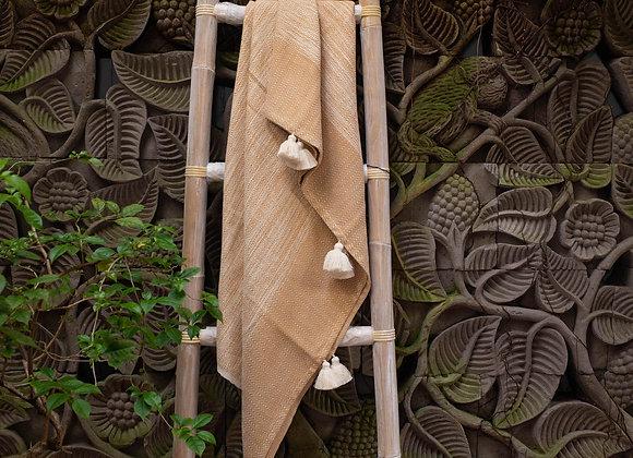Cotton Blanket   'Leaf' Orange