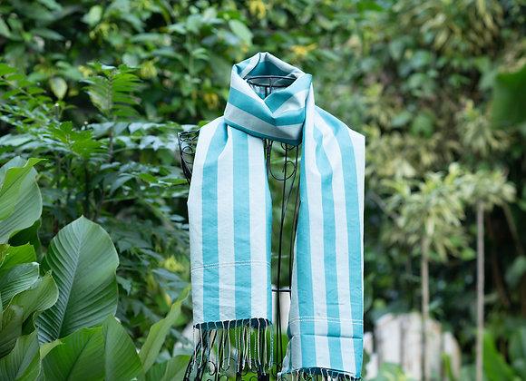 Cambodian Silk Scarf 'Stripes' | Ocean