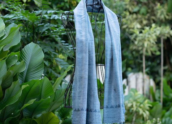 Silk Ikat Scarf 'Zigzag' | Silver Indigo