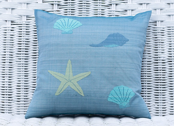Silk Organza Pillow Cover 'Starfish' | Ink Blue