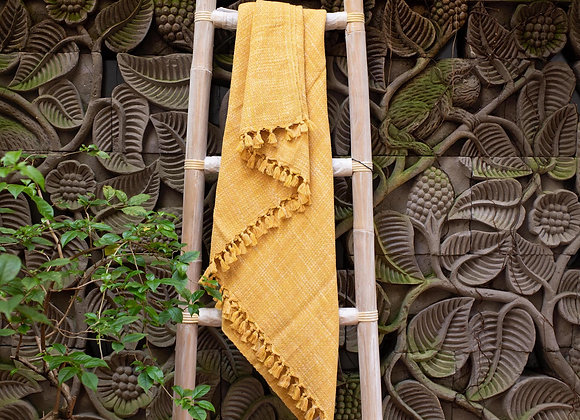 Cotton Blanket | 'Ikat' Yellow