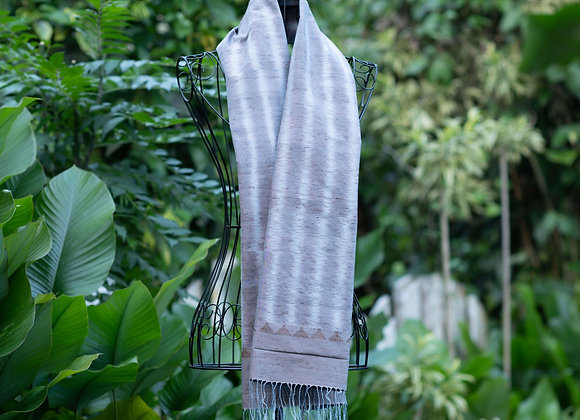 Silk Ikat Scarf 'Hook' | Grey Mist
