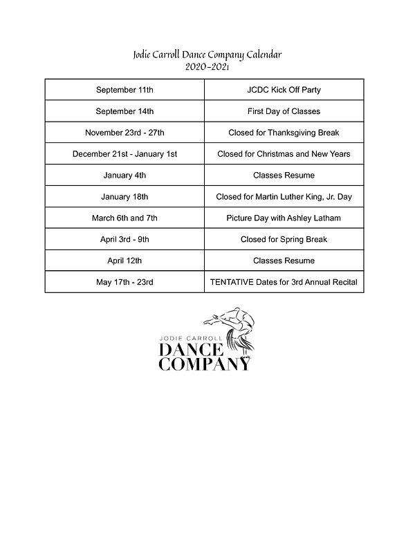Jodie Carroll Dance Company Calendar (1)