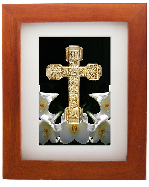 Bronze Cross with Stations Sculptutre Shadow Box
