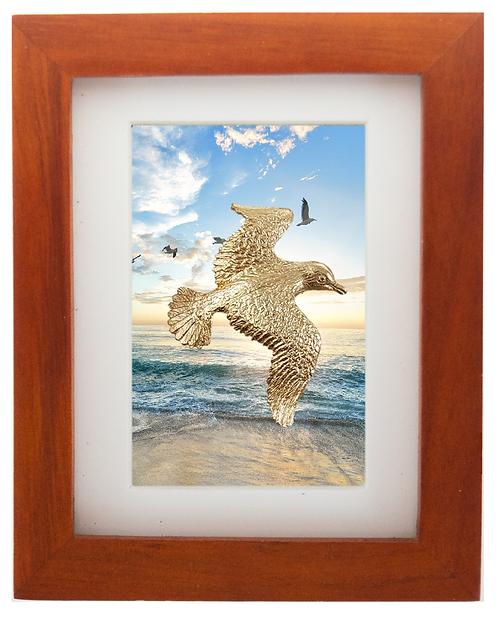 Bronze Seagull Sculpture Shadow Box