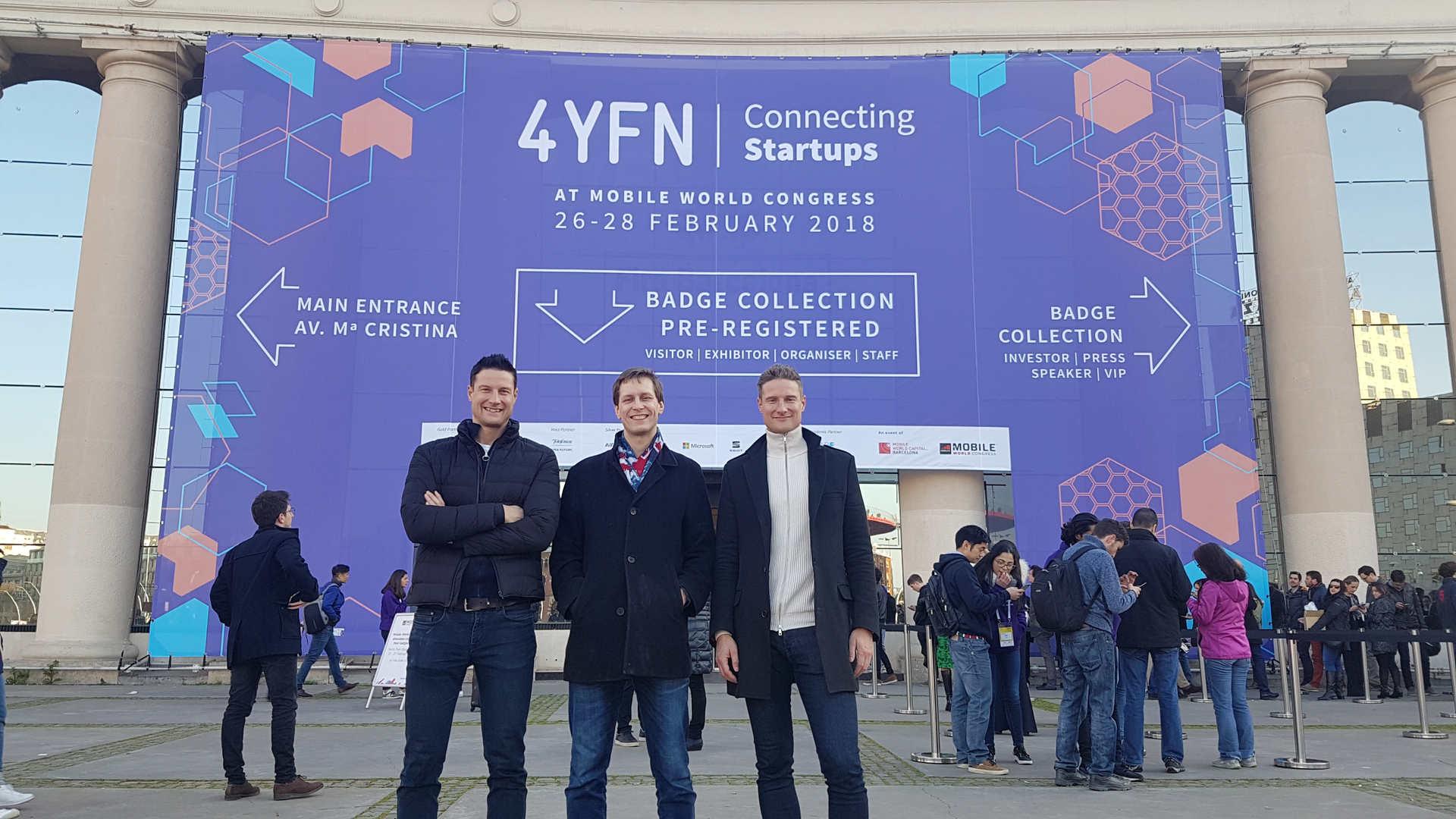 4YFN Conference in Barcelona Feb 2018. From left: Tero Seppala, Juha Uotila and Jere Seppala