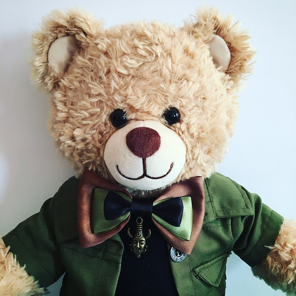 Dean Winchestbear in olive green jacket with bow