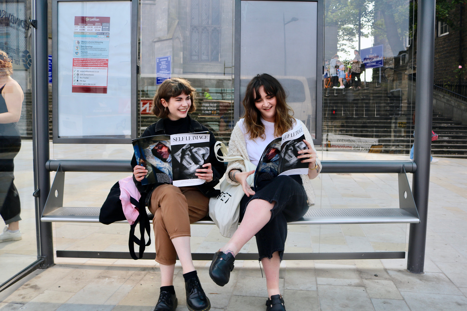 SELF I.E IMAGE MAGAZINE at the bus stop