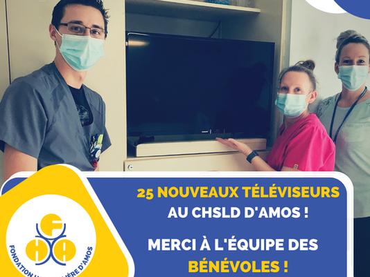 25 nouveaux téléviseurs seront maintenant disponibles pour les résidents temporaires du CHSLD d'Amos