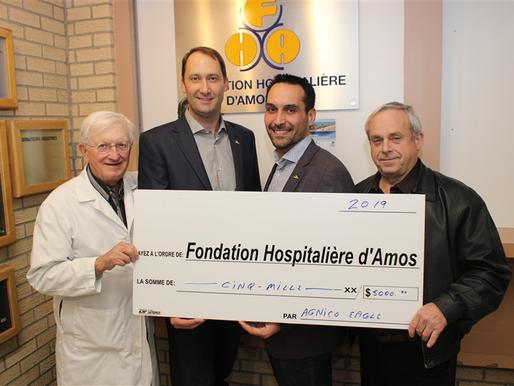 Agnico-Eagle verse 5 000 $ au bénéfice des enfants recevant des soins à l'hôpital d'Amos