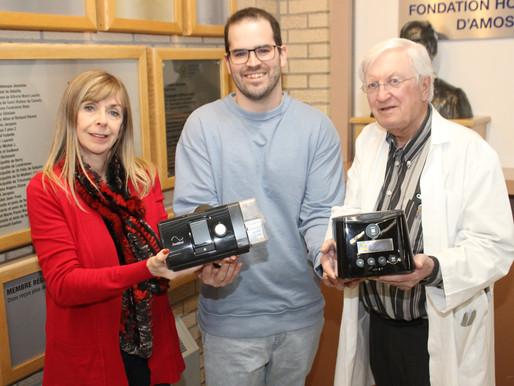 Eskair, soins du sommeil remet 2 CPAP à la Fondation Hospitalière d'Amos
