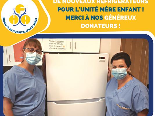 2 nouveaux réfrigérateurs pour l'unité mère enfant !