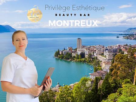 Esthéticienne de l'Institut de beauté Privilège esthétique présente une vue de la ville de Montreux