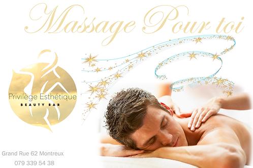 Carte Cadeau d'un massage relaxante de 1h pour homme