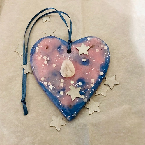Blue & Pink Heart with Gemstone