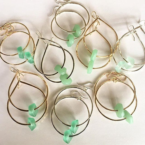 Sea Glass Hoops and Teardrop Earrings