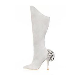Dove Grey Suede Dahlia Mid-Calf Boot