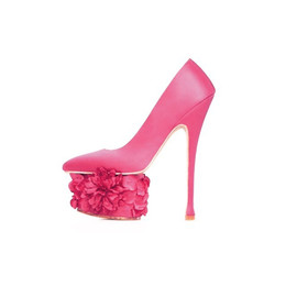 French Rose Pink Sateen Dahlia Pump Extreme