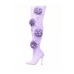 Lavender Suede Dahlia Thigh High