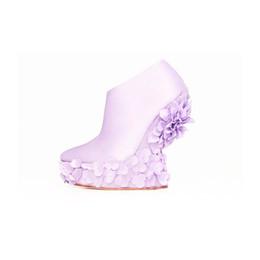 Lavender Sateen Dahlia Wedge Boot