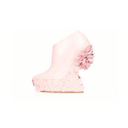 Blush Lambskin Dahlia Wedge Boot
