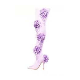 Lavender Sateen Dahlia Thigh High