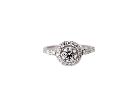 ONCE A LIFETIME HALO DIAMOND ENGAGEMENT RING