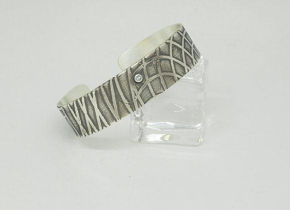 Sterling Silver Cuff with a White Topaz