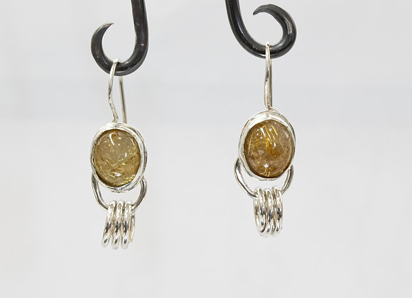 Golden Rutilated Quartz and Sterling Silver Earrings