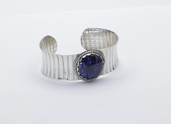 Textured Sterling and Lapis Cuff Bracelet