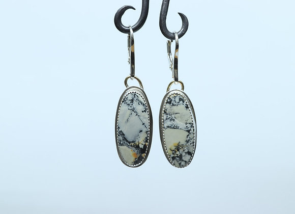 Sterling Silver and Jasper Oval Earrings