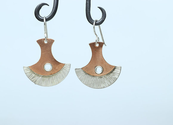 Sterling and Copper Half Round Earrings