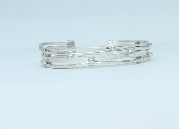 Sterling Silver Wire and Bead Cuff Bracelet