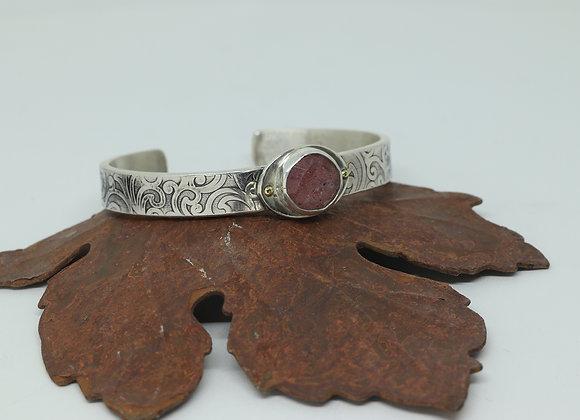 Sterling Silver Cuff Bracelet with Rose Quartz