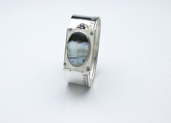Peruvian Blue Opal Hinged Cuff Bracelet