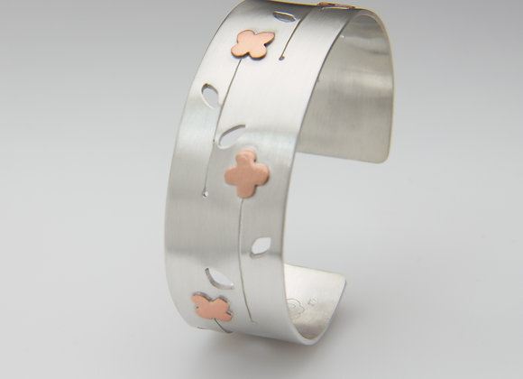 Sterling Silver and Copper Flower Cuff Bracelet