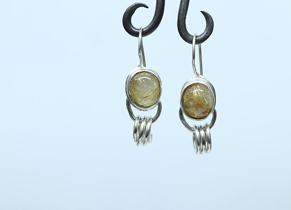 Sterling and Rutilated Quartz Earrings
