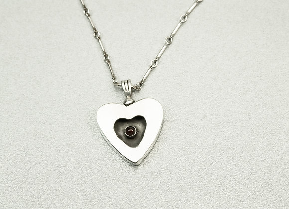 Small Sterling Silver Heart in a Heart Pendant
