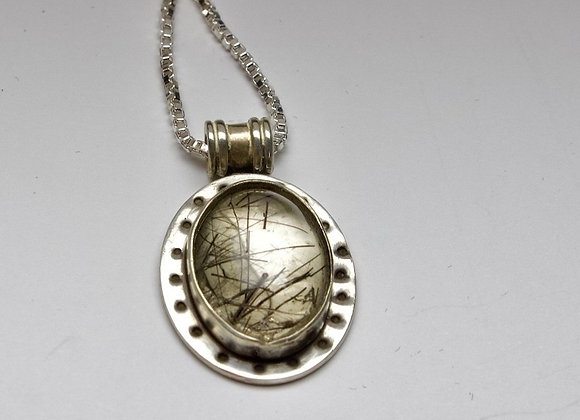Sterling Silver and Tourmalinated Quartz Pendant