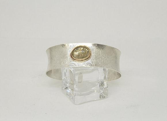 Sterling Silver Cuff Bracelet with Rutilated Quartz