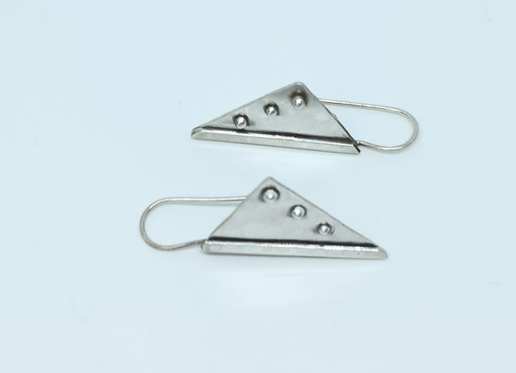 Triangular Sterling Silver and bead Earrings