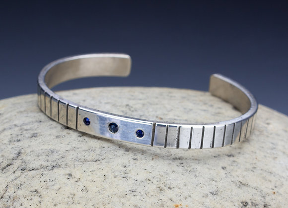 Sterling Silver and Sapphire Cuff Bracelet